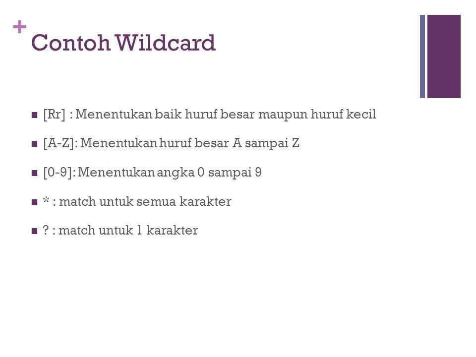 Contoh Wildcard [Rr] : Menentukan baik huruf besar maupun huruf kecil